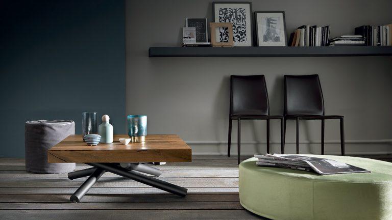 tavolino quadrato allungabile in tavolo da pranzo levante in legno nobilitato effetto malta base in metallo 1