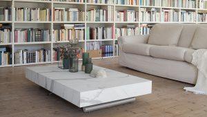 tavolo rettangolare allungabile regolabile in altezza salotto pranzo Ulisse nobilitato laccato legno effetto malta 1